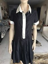 Chanel 05 A Noir Robe en soie avec col blanc et perles de taille FR 42 UK 14