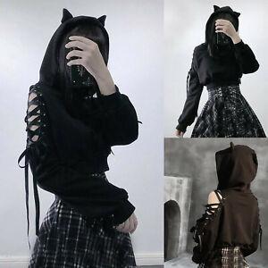 Women's Cat Ear Hoodie Pullover Long Sleeve Black Hooded Sweatshirt Blouse Tops