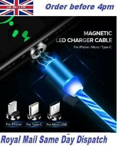 New 3 In1 360° Round LED Streamer Magnetic IOS Micro USB Type C Charging  Cable