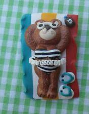 Cute Teddy Bear Brooch Bear in Bathing Suit on Beach Towel Signed H.T. 92