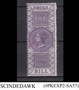 INDIA - 1869-1900 4anna FOREIGN BILL QV STAMP - UNUSED - HINGED