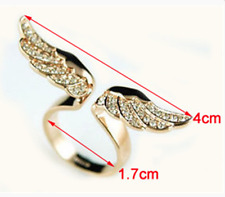 18K Gold Plated Angel Wing Ring  Opening Adjustable Wrap Fashion Women