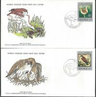 PAIR POLAND FDC'S - GREAT BUSTARD & KESTREL W INFO CARDS - WWF CACHETS!