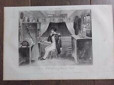 GRAVURE MARINE NAVIRES 1840 UNE CHAMBRE D'OFFICIER A BORD