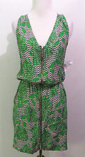 Aqua Green Printed Zip Front Dress Size 2 # N 48(CHECK MEASURMENTS)