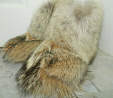 GENUINE WARM COYOTE FUR SOCKS INSIDE WINTER BOOTS All Sizes