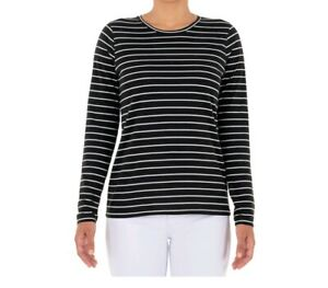 Time and Tru Women's Long Sleeve Core T-Shirt size XL Black & White Striped New