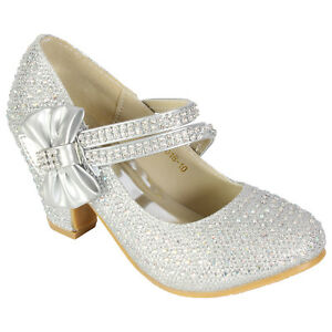 GIRLS DIAMANTE SHOES WEDDING PARTY BRIDESMAID LOW HEEL MARY JANE EVENING SANDALS