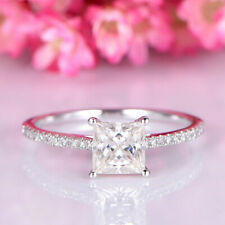 Real 10k White Gold Solitaire With Accents Ring Princess Cut Diamond 1.00 Ct