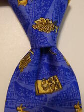 ANDRE CLAUDE CANOVA Mens' 100% Silk Necktie FRANCE Animals Blue/Yellow EUC Rare
