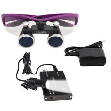 3.5x420 Dental Loupe Surgical Binocular Len Magnifier Purple w/ 5W Headlight