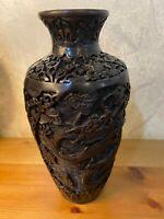 Vintage Chinese  Dragon Carved Black Cinnabar Vase 23 cm