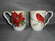 4- 222 Fifth HOLIDAY WISHES Dinner Mugs Cups Christmas Cardinal Poinsettia