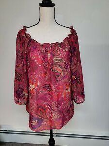 Women's CHAPS  Sheer Boho Top Sz PL Elastic Neck 3/4 Sleeve Paisley print
