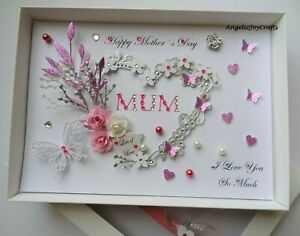 Handmade Personalized 3D Mother`s Day MUM MAM MOM / Birthday Card with GIFT BOX