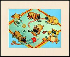 BOXER NAUGHTY PUPPIES CHARMING COMIC DOG PRINT MOUNTED READY TO FRAME