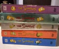 Simpsons DVD First, Second, Third, Fourth, and Fifth seasons.
