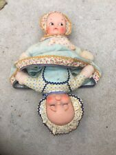 Vintage Rare 50's Knickerbocker Two Headed Double Face Happy Sad Cloth Doll