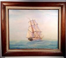 """Clipper Ship at Sea Ambrose Oil Painting Framed Art Signed 16"""" x 20"""""""