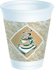 100 x Dart 7oz Foam Cups Printed Cafe G' Pattern With Lift Lock Lids - Coffee