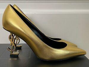 NIB Saint Laurent Opyum YSL Logo Heel Gold Leather Pointed Pumps 37.5 7.5 $1195