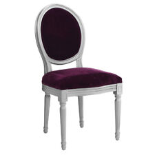 Louis Style Chair, Purple Velvet/Silver Frame