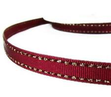 "2 Yds Metallic Gold Side Saddle Stitched Dark Brick Red Grosgrain Ribbon 3/8""W"