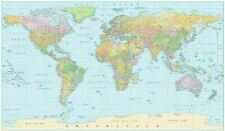 Laminated World map poster waterproof 91 x 61 cm with all city names educational