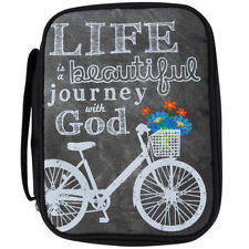 "Bible Cover,"" Life Is A Beautiful Journey With God"" Bible Cover Bicycle"