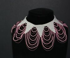 Vintage Seed Beads Collar Statement Necklace White Pink Mauve (Purple)