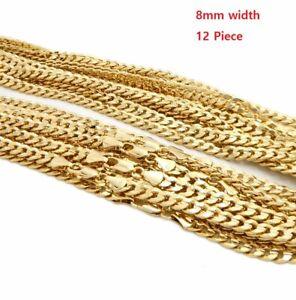 "8mm 12 Piece Concave Cuban Chain 8"" 9"" 20"" 24"" 30 Wholesale 14K Gold Plated"