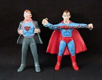 Vtg Clark Kent as Superman & Superman w/ Chain Figures DC Hong Kong Chemtoy 1974