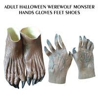 Halloween Fancy Dress Costume Werewolf Monster Hands Gloves & Feet Shoes Adult