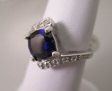 .925 Sterling Silver Beautiful Sapphire Bypass Design Ring - Size 8   #1521