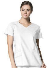 {XL} WonderFLEX by WonderWink Women's Charity Y-Neck Solid Scrub Top WHITE