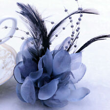 Feather Calliopsis Silk Corsage Brooch Hairpin Prom Wedding Flowers Decor Gray