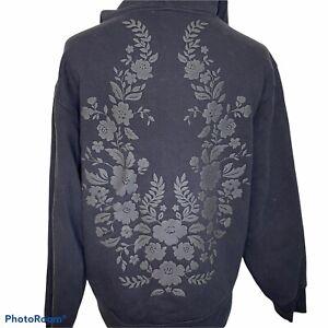 Athleta Limited Edition Marais Lace Hoodie Black Floral Back Pattern Sz.Sm