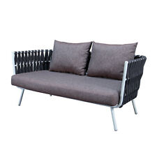 LeisureMod Outdoor Patio Spencer Modern Rope Frame Loveseat With Cushions