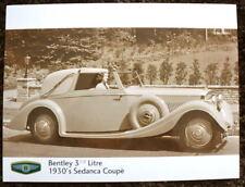 BENTLEY 3 1/2 LITRE SEDANCA COUPE PRESS PHOTOGRAPH BLACK & WHITE 1930