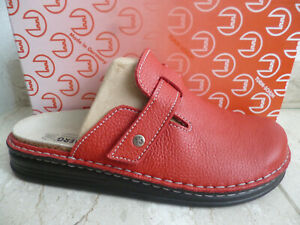 Turm Ladies Clogs Mules Slippers Real Leather Red New