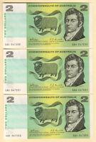 Australia R-83. (1968) 2 Dollars - Phillips/Randall..  UNC - CONSECUTIVE Trio