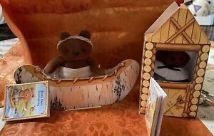 Vintage Hallmark Clarissa Bear's Brown Paw's Thanksgiving 1995 Stuffed Bear Set