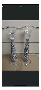 Crushed Diamond Crystal Filled Pair Of Candle Holder Romany Italian Bling