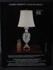 1979 Marbro Lamp 46th Anniversary 'Le Feu de Cristal' Vintage Print Ad 12892