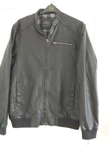 Mens Next Black Leather Look Bomber Jacket Size Large