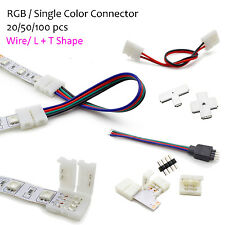 RGB Single Color Wire Angle Connector Adapter RGB 5050 5630 LED Strip Solderless