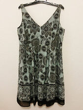 Dressbarn Womens Dress Size 18 W - Brown & Teal Floral Lined Flared Dress