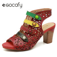 SOCOFY Women Genuine Leather Sandals Sooo Comfy Buckle Hook Loop Shoes Peep Toe