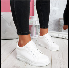 New Womens Ladies Lace Up Inner Wedge Platform Trainers Sneakers Flat Shoes Size