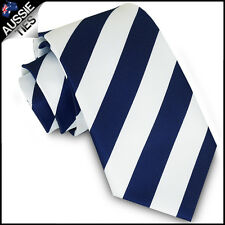 MENS NAVY BLUE & WHITE STRIPE SPORT TIE stripes striped necktie